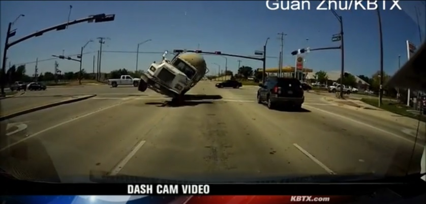 Dashcam video of a overturning cementtruck